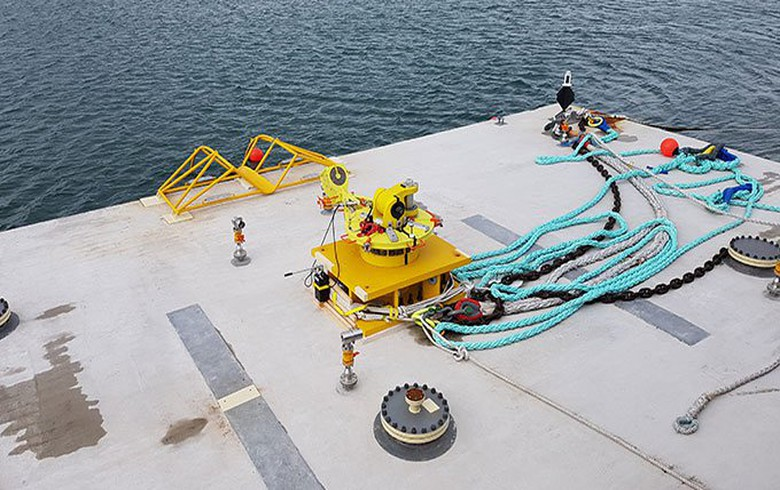 Minesto installs bottom joint for tidal power device in Wales