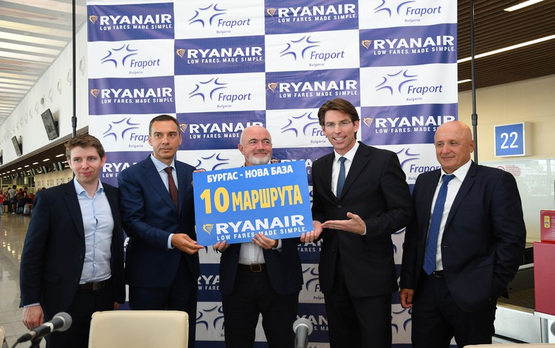 Ryanair to invest $100 mln (83.49 mln euro) in new Bulgarian base