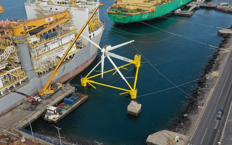 X1 Wind's X30 floating wind prototype now fully assembled in Canary Islands