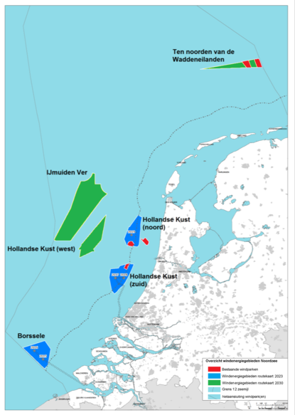 these are shown in green in the map below in blue are the existing areas from the 2023 roadmap and in red are the existing wind farms