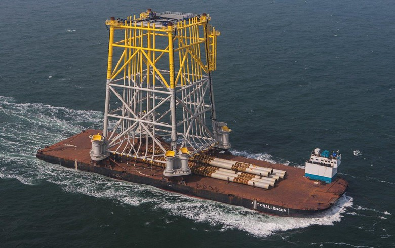 Jacket for Hohe See substation en route to German North Sea