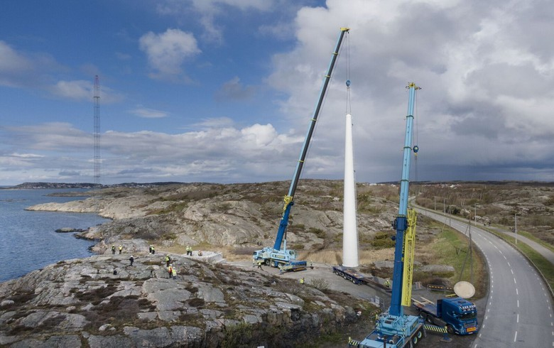 Modvion lifts 1st wooden tower for wind turbines in Sweden