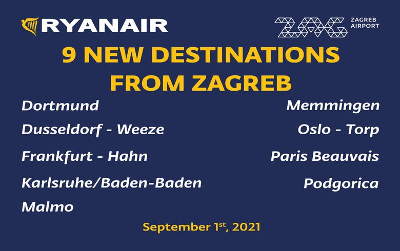 Ryanair adds second aircraft to Zagreb base, launches 9 new flights
