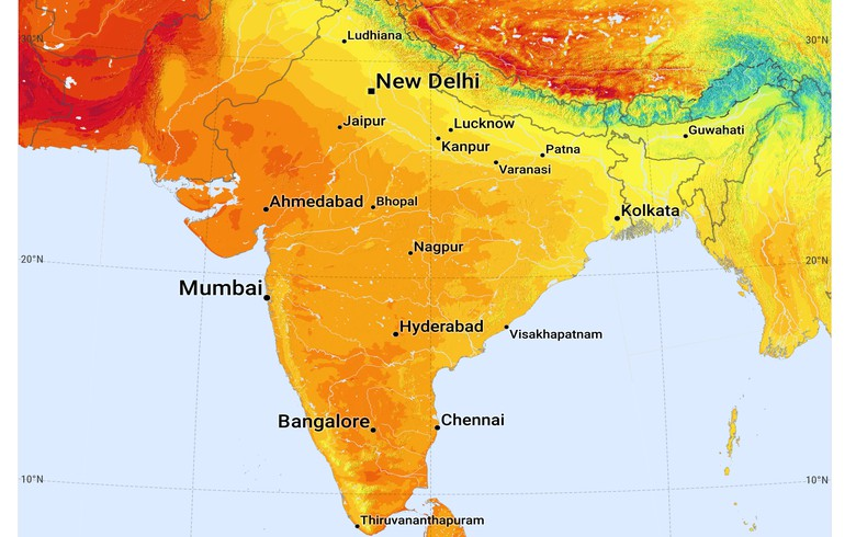 Weak response to solar auctions in maharashtra karnataka report global horizontal irradiation map for india licensed under cc by 30 igo by the world bank gumiabroncs Images